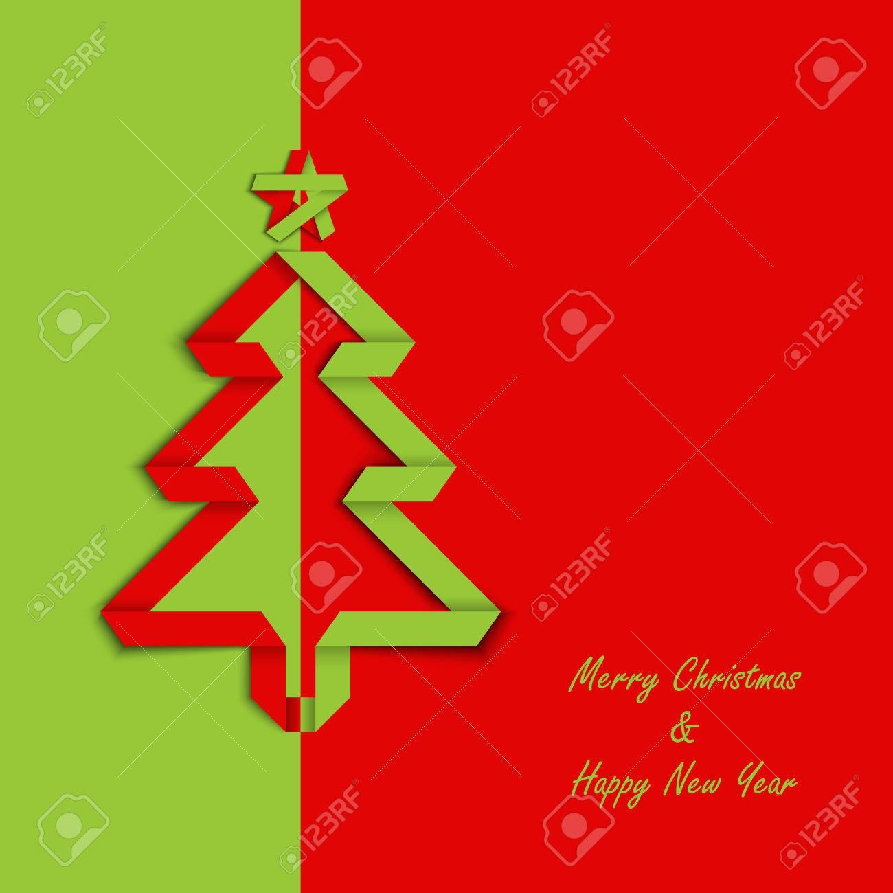 Weihnachtskarte Mit Gefalteten Grün Rot Papier Baum Vorlage Vektor