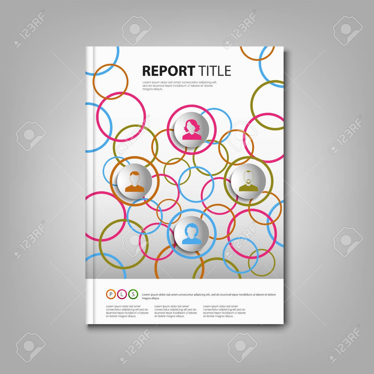Brochures Book Or Flyer With Colored Rings And Icons Template ...
