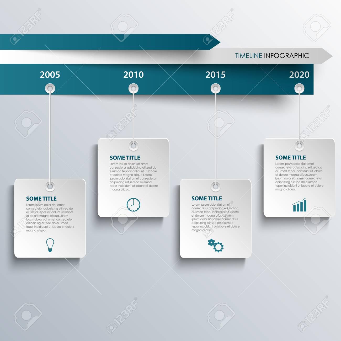 Tiempo Información Gráfica Con La Línea Azul Colgando De Etiquetas ...