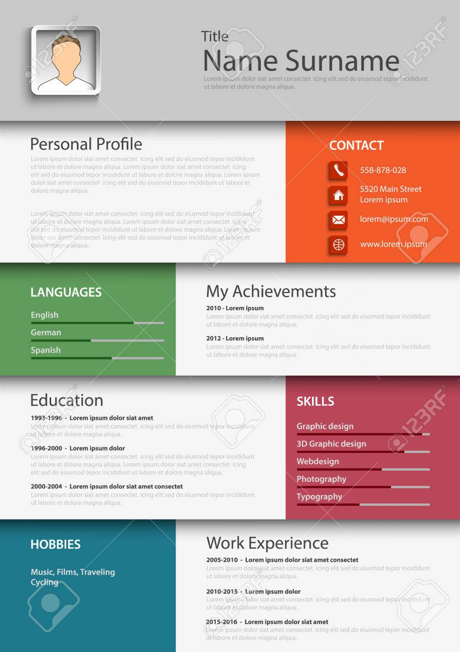 Professional colored resume cv template vector eps 10 royalty free professional colored resume cv template vector eps 10 stock vector 73480147 yelopaper Image collections