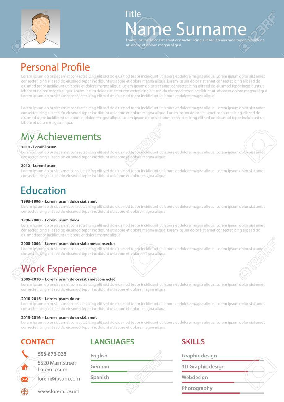 Professional Resume Cv Structured Template Vector Eps 10 Royalty
