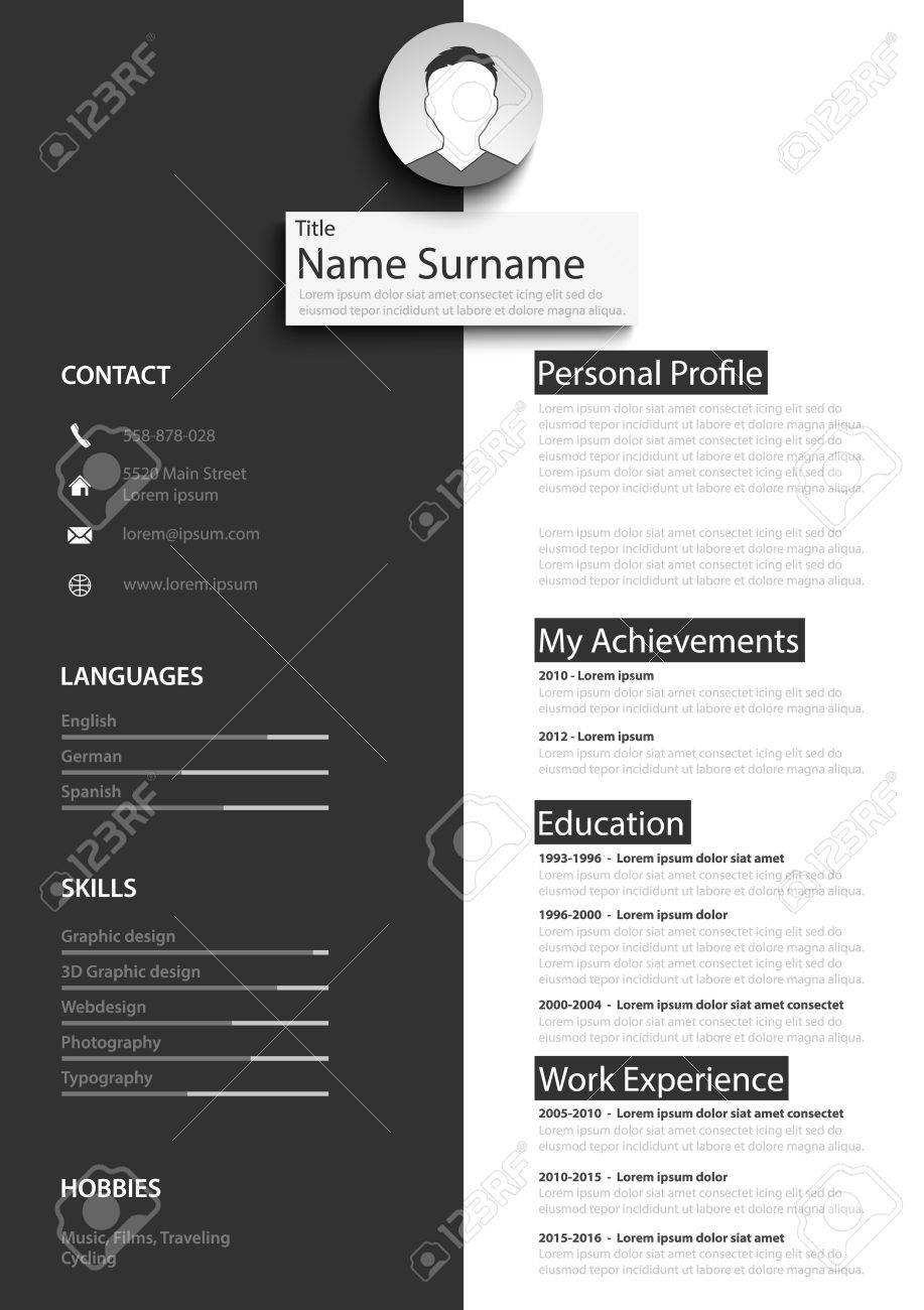 Professional black white resume cv template vector eps 10 royalty professional black white resume cv template vector eps 10 stock vector 75865787 yelopaper Image collections