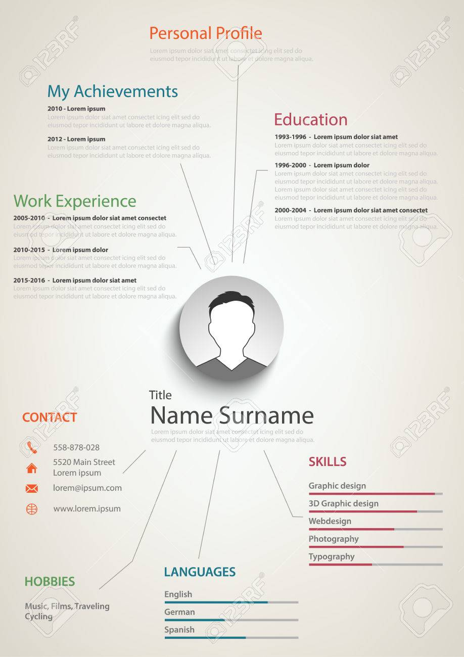cv background Professional Retro Resume Cv With Background Links Vector Eps