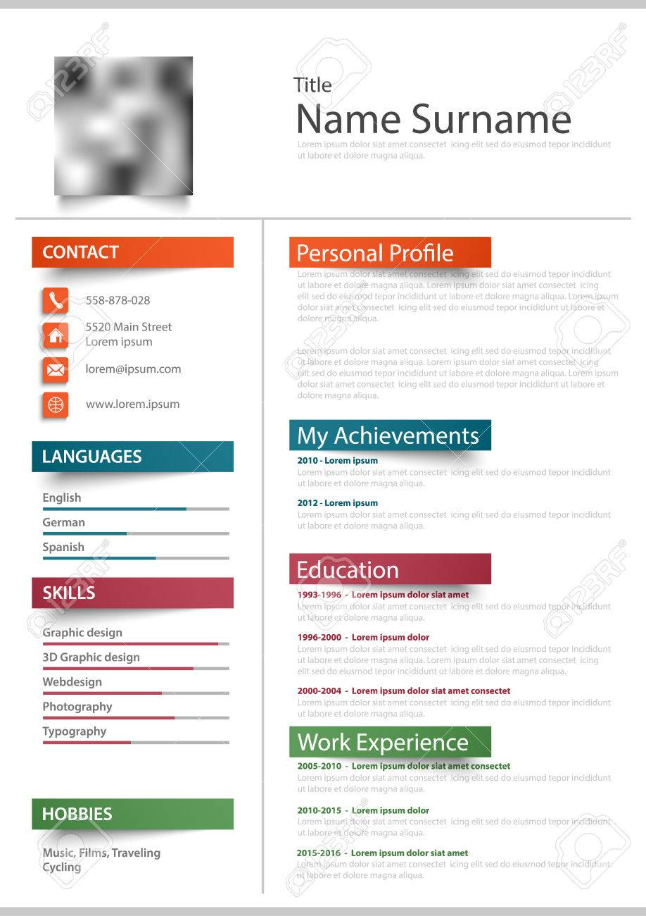 Professional Resume Cv With Color Stickers Template Vector Eps
