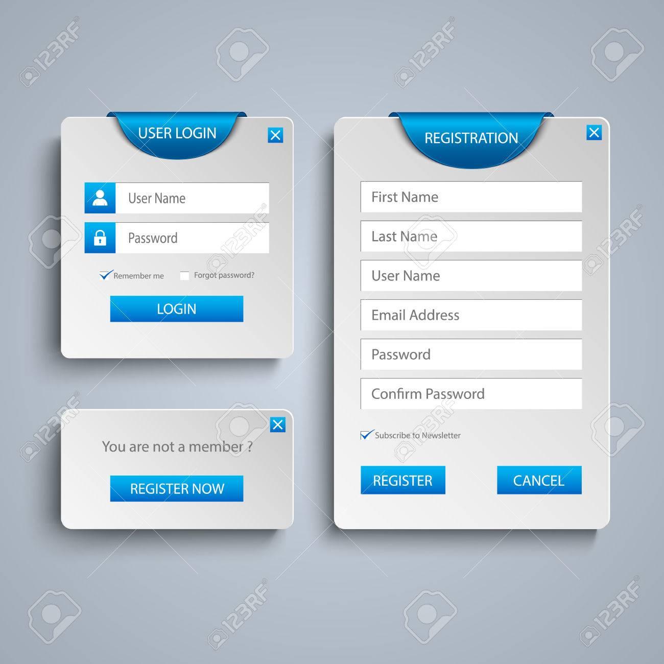 Sammlung Login Und Registrieren Web-Bildschirm Mit Blauen ...