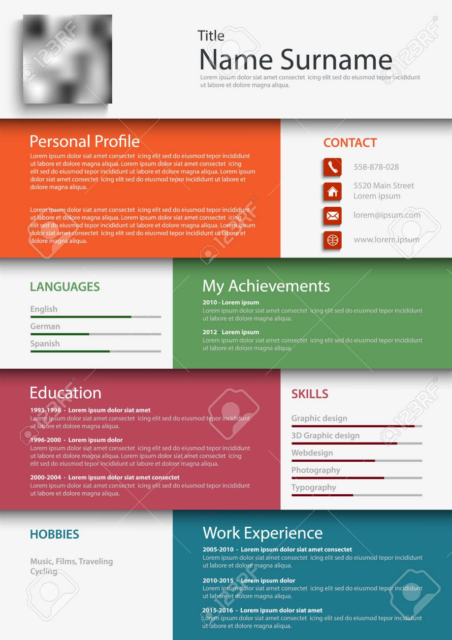 Professional Colored Resume Cv Design Bookmarks Template Vector ...