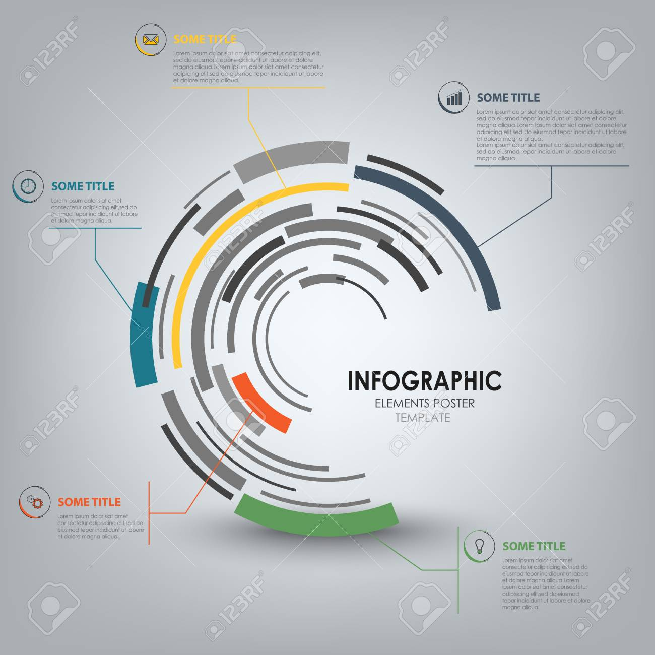 Info Graphic With Abstract Technical Design Round Template Vector ...