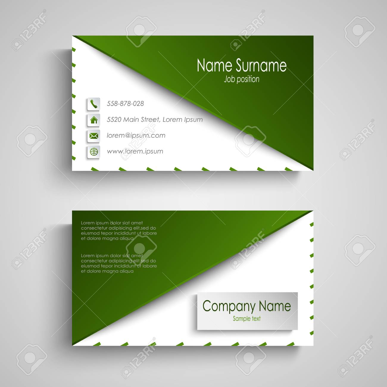 Business card with white green design triangle template vector business card with white green design triangle template vector imagens 88795221 reheart Gallery