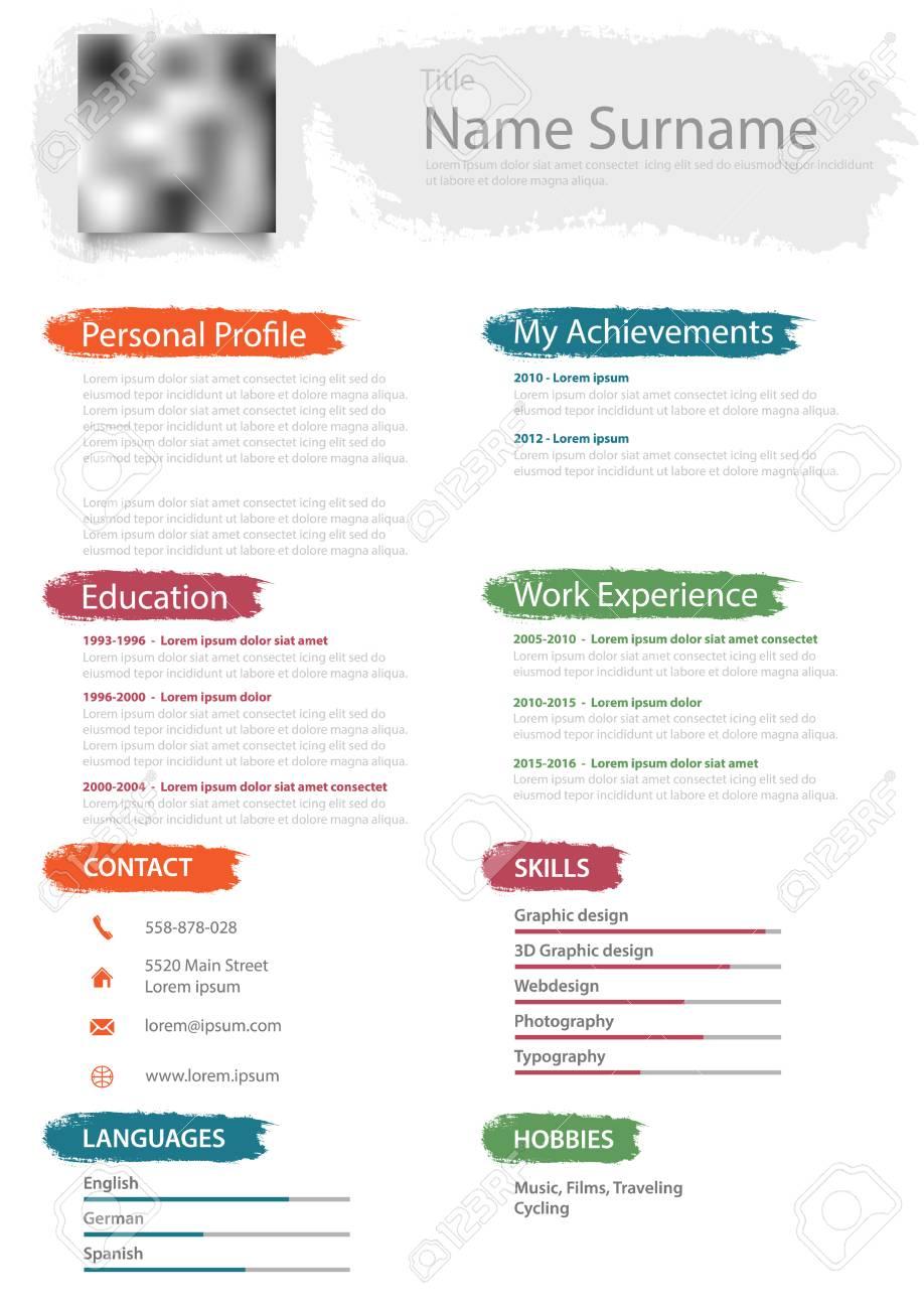 Professionelle Lebenslauf Lebenslauf Mit Design Pinsel Vektor
