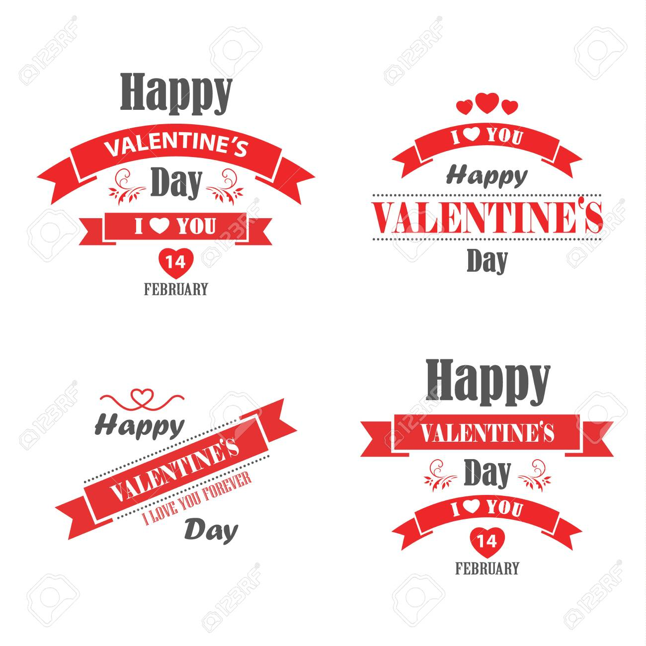 Valentine retro vintage poster with red ribbons template vector eps 10 - 138584820