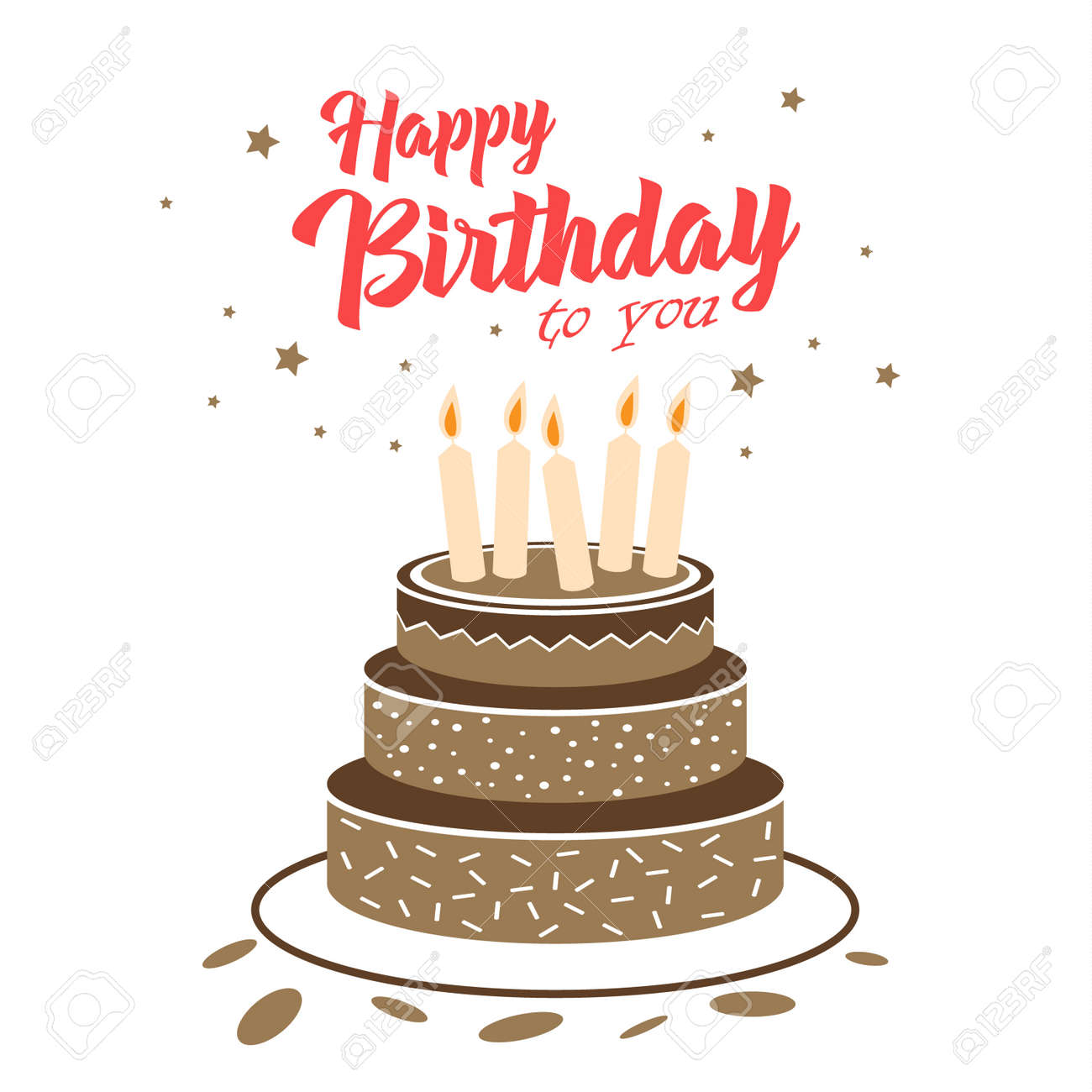 Birthday card with chocolate cake and stars template vector eps 10 - 158704332