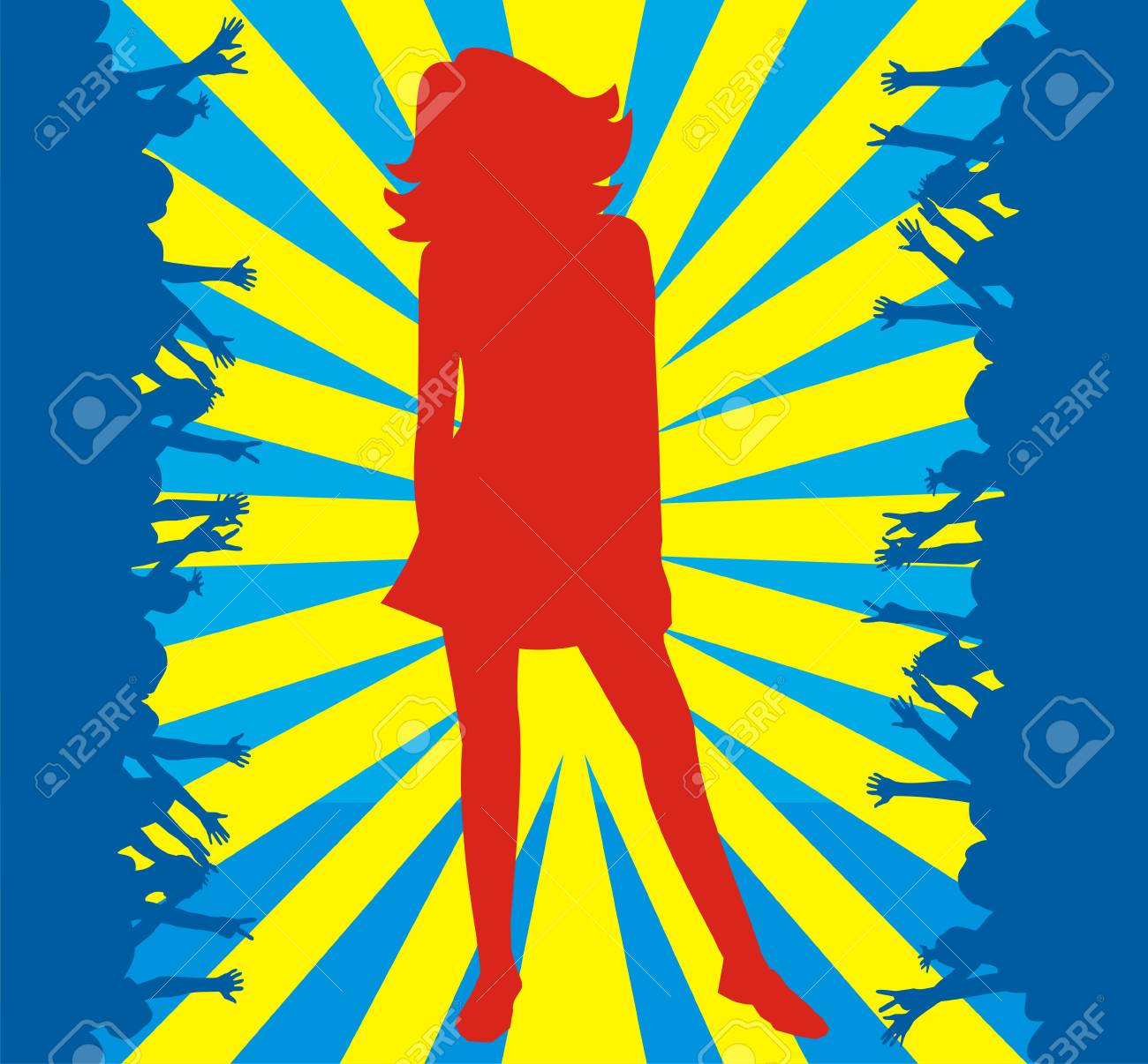 Red silhouette of the girl on a blue background with yellow strips in an environment of dark blue silhouettes of people Stock Vector - 1640759