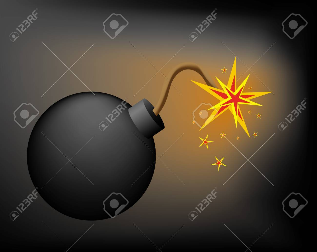 Bomb before explosion in darkness Stock Vector - 2444346
