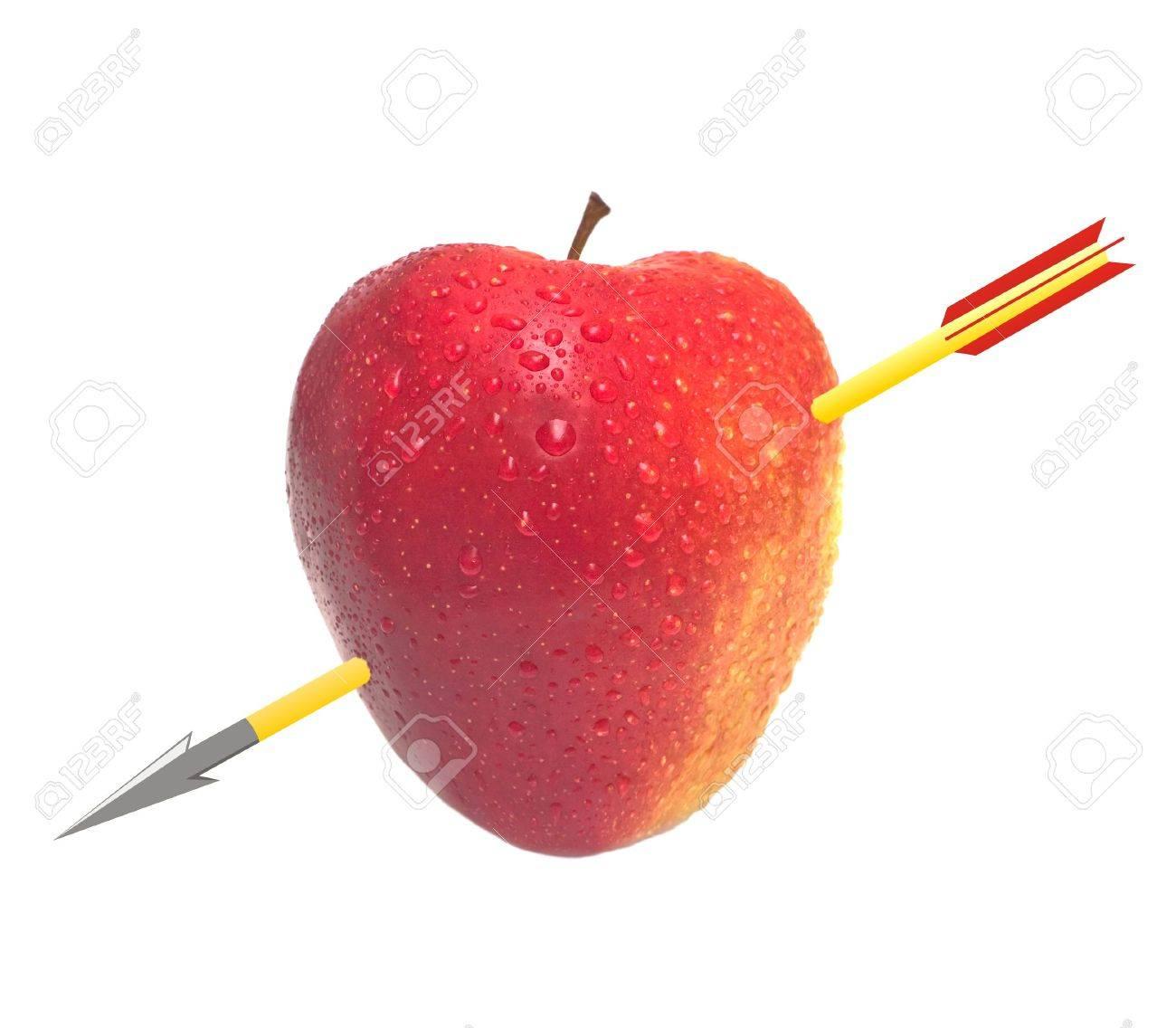 The apple similar to heart, through pierced with the drawn arrow. A photomontage. Isolation on the white Stock Photo - 2480807