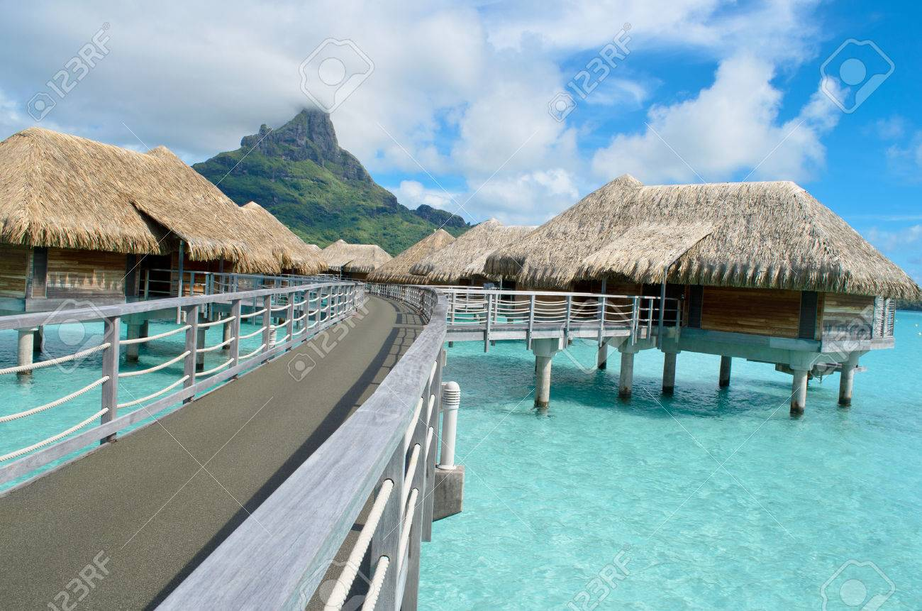 Luxury Overwater Bungalows In A Vacation Resort In The Clear