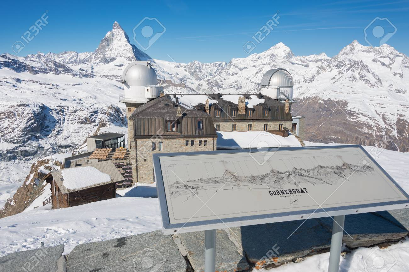 Great View On Mt. Matterhorn And Other Alps Mountains In The.. Stock ...