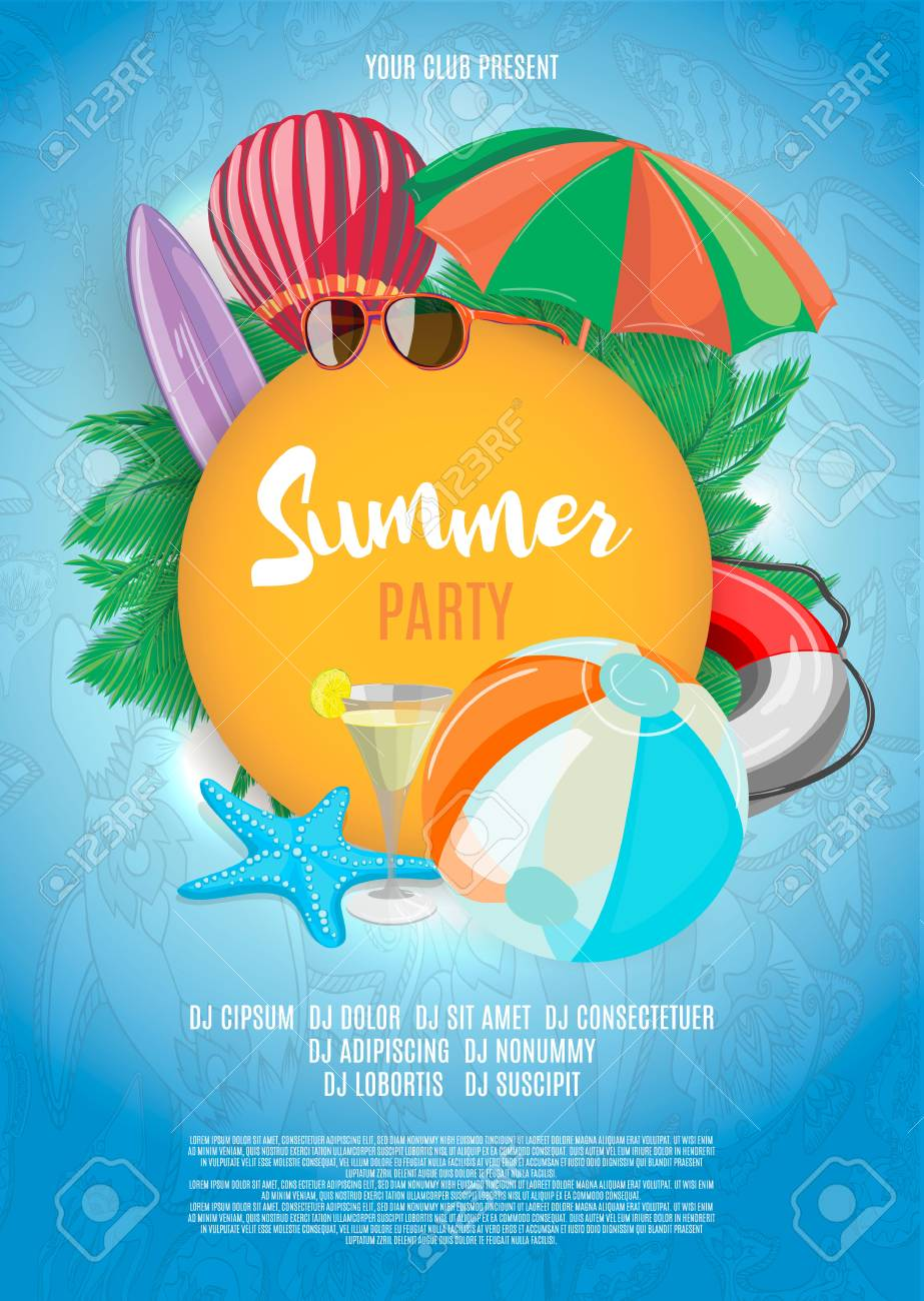 summer vector banner design template in beach theme with summer