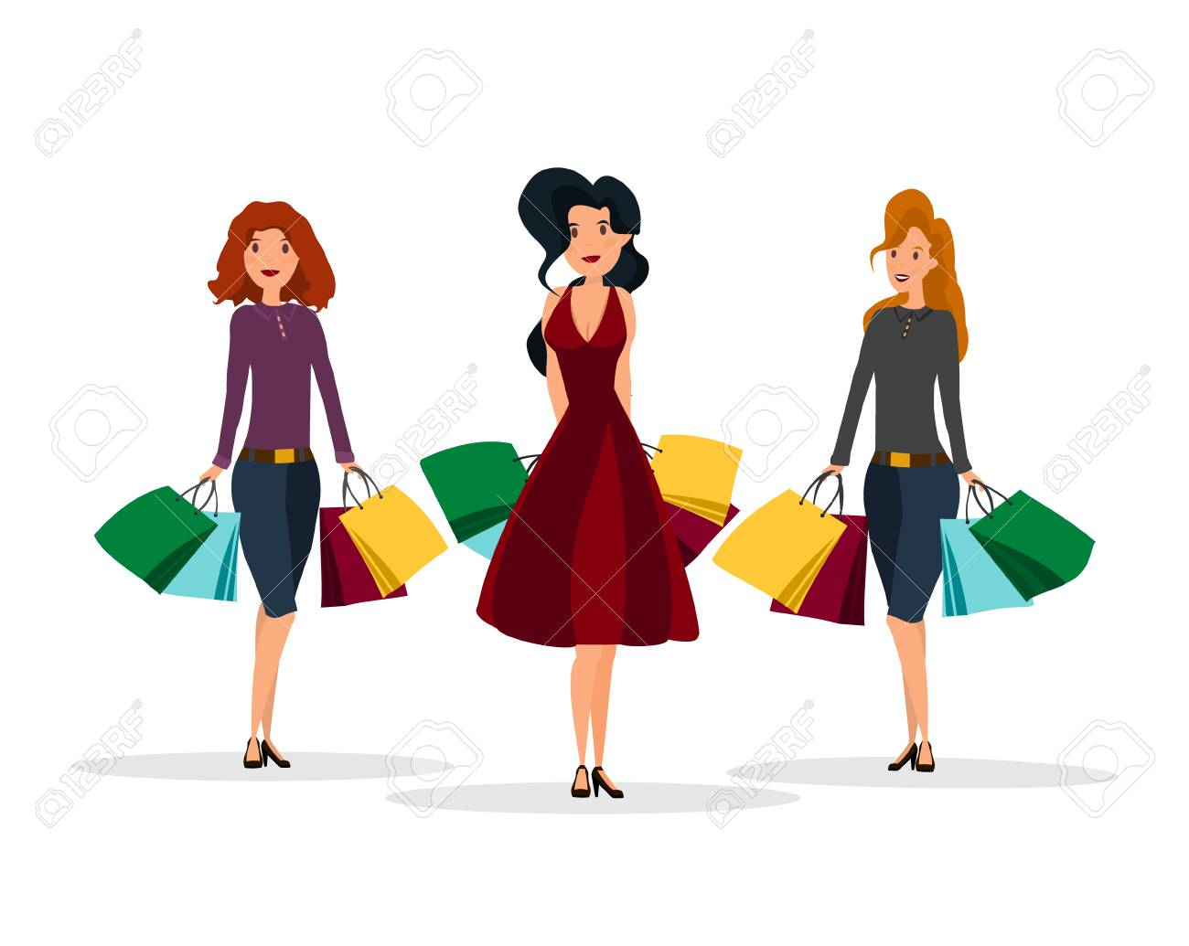 fashion woman making shoping with paper bags for sale flyers
