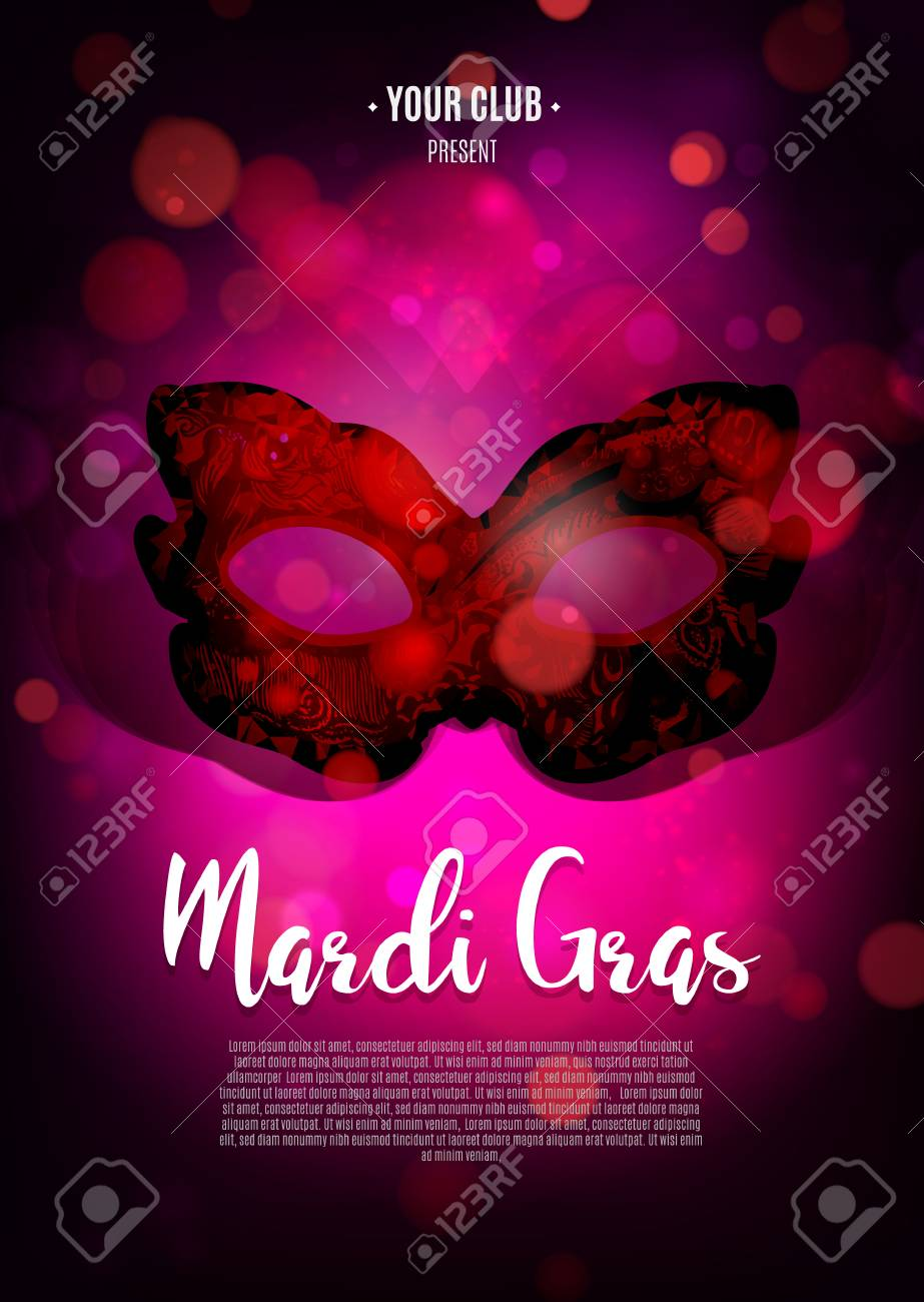 Carnival Background With Mask. Concept Design For Poster, Greeting ...