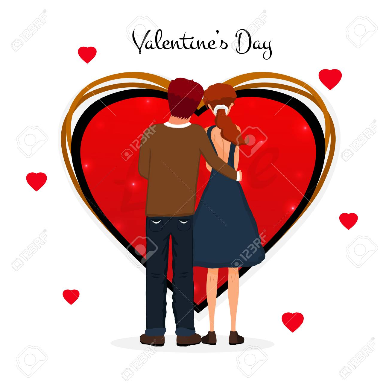 Valentine S Day Cute Couple Love Day Couple With Heart Vector