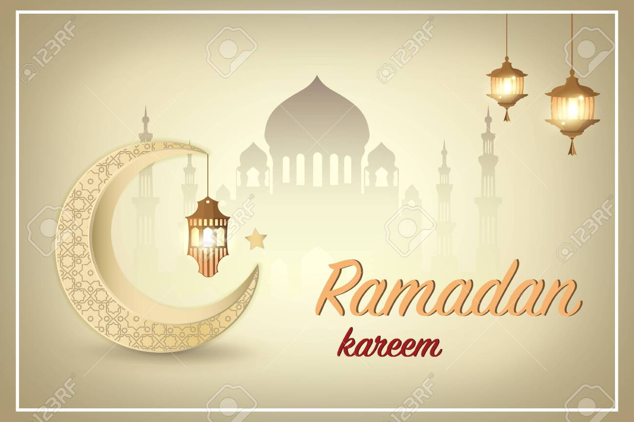 Ramadan kareem greeting template Islamic crescent and Arabic
