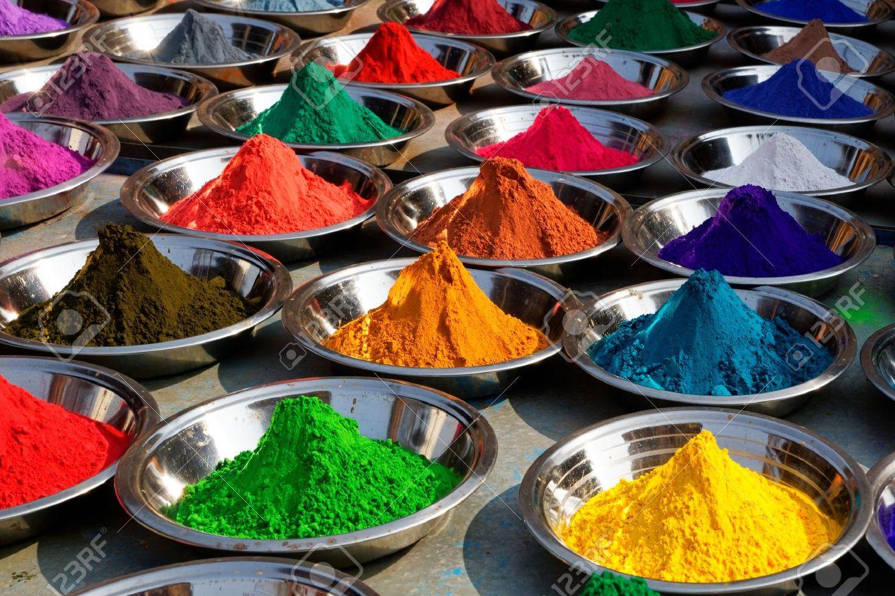 On the photo  Colorful tika powders on Orcha market, India Stock Photo - 13172281