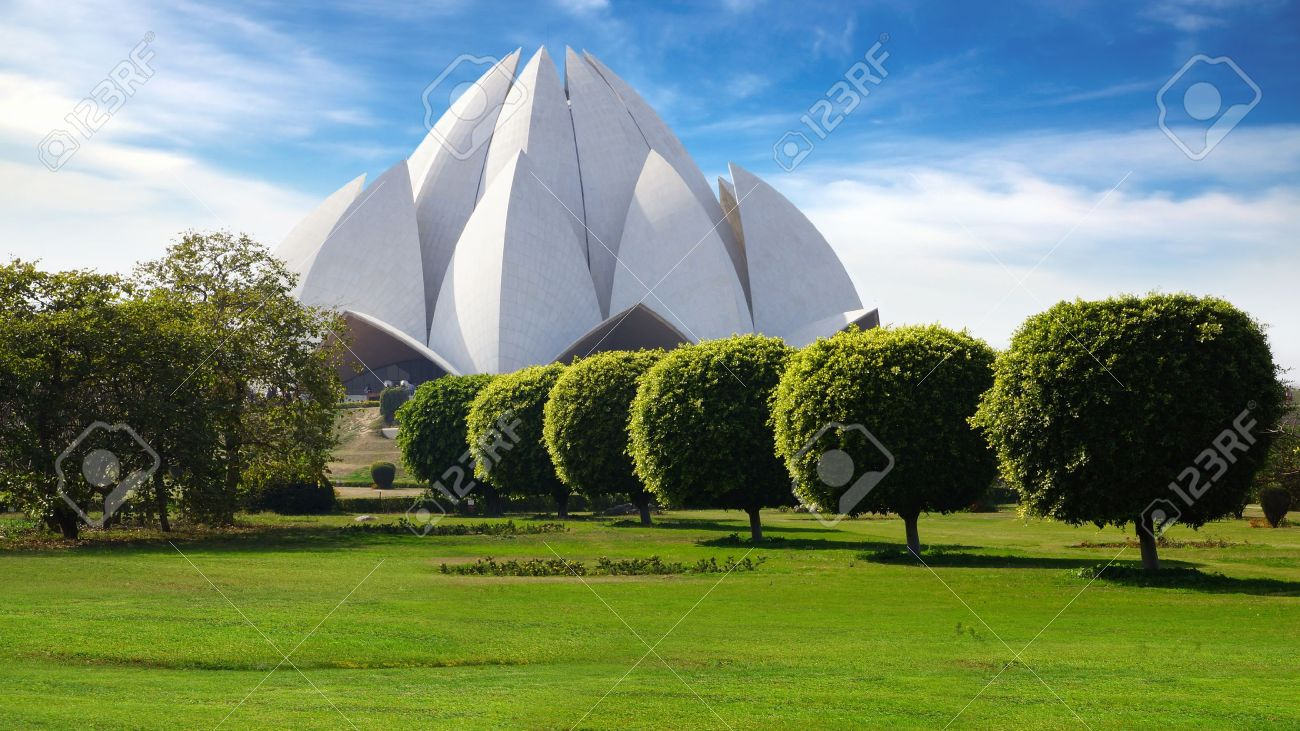 Picturesque landscape with Lotus Temple. New Delhi, India Stock Photo - 13239133