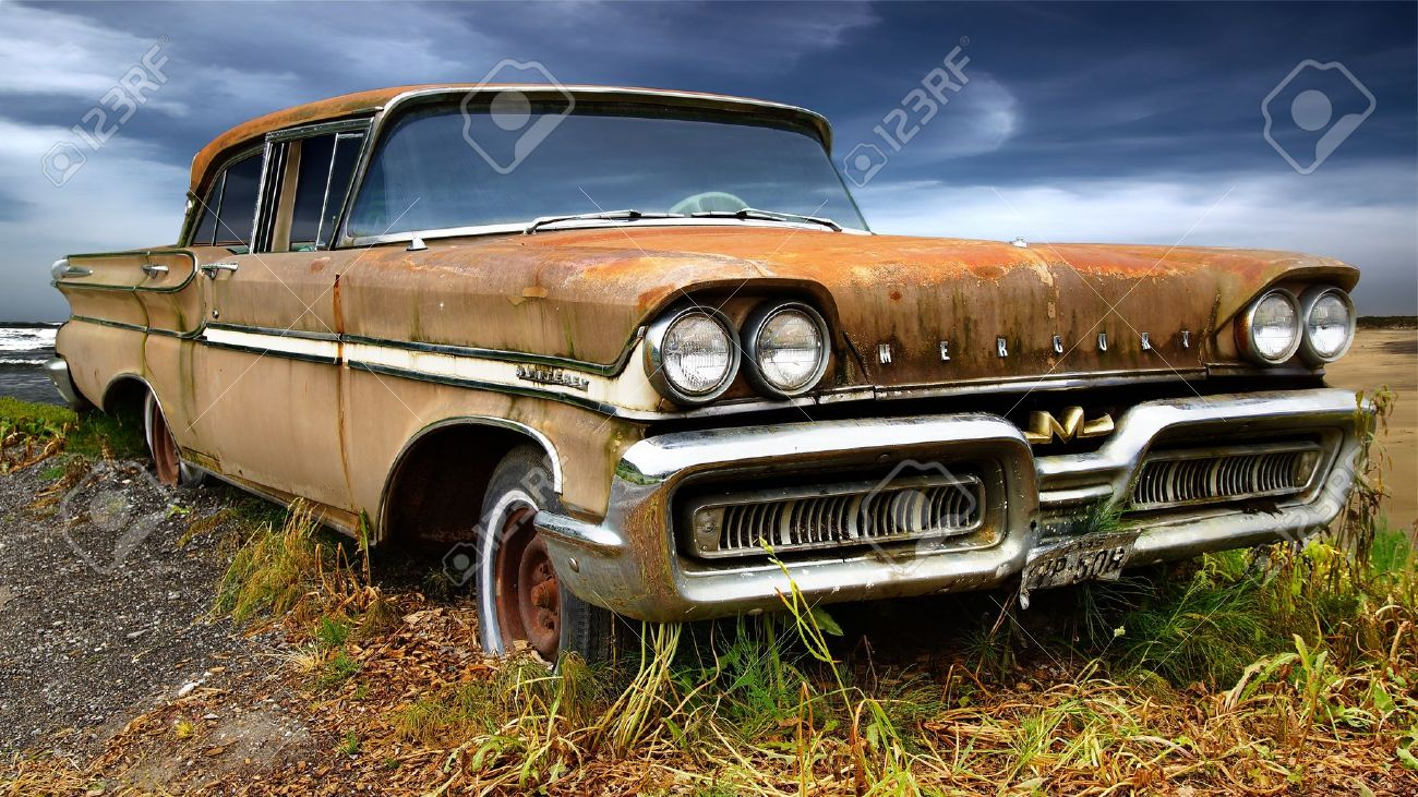 Picturesque Rural Landscape With Old Fashioned Car Stock Photo ...
