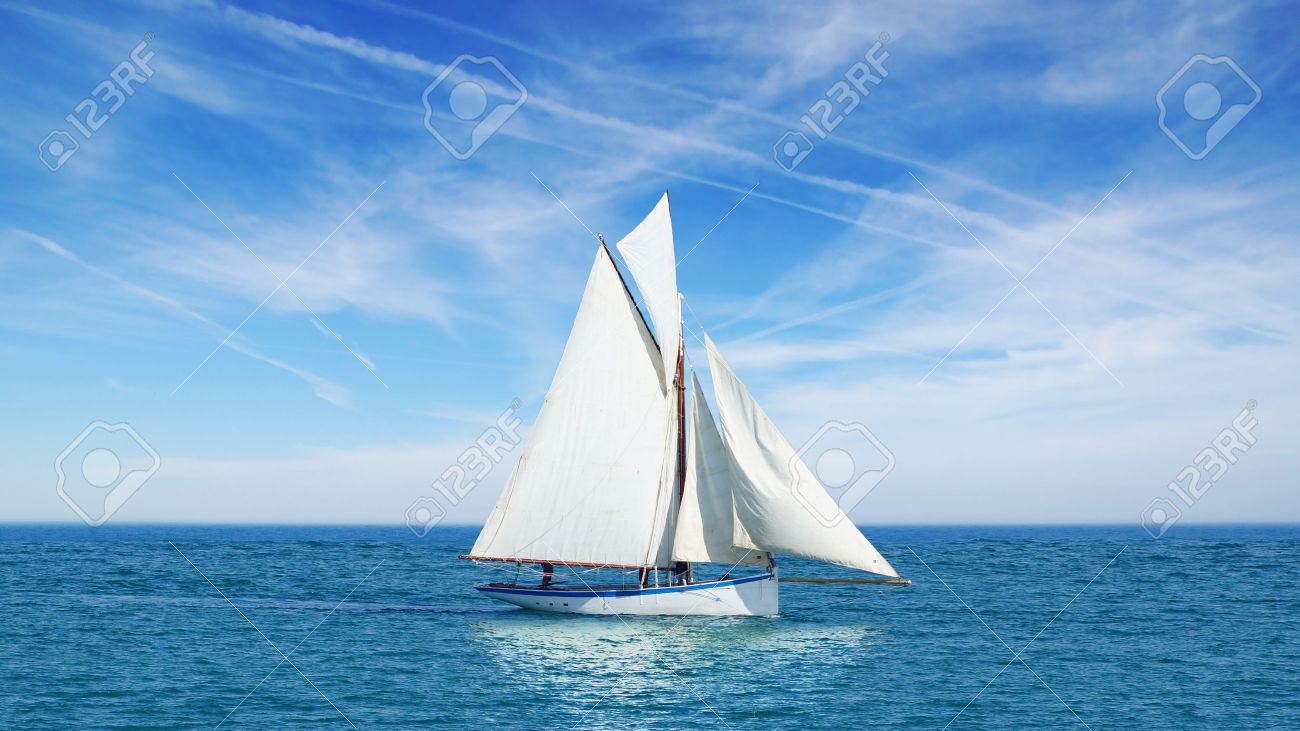 Seascape with sailboat the background of the blue sky - 15104607
