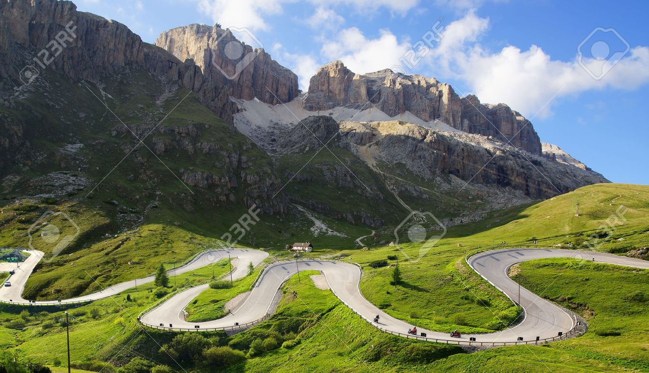 Picturesque Dolomites landscape with mountain road Italy - 15769081