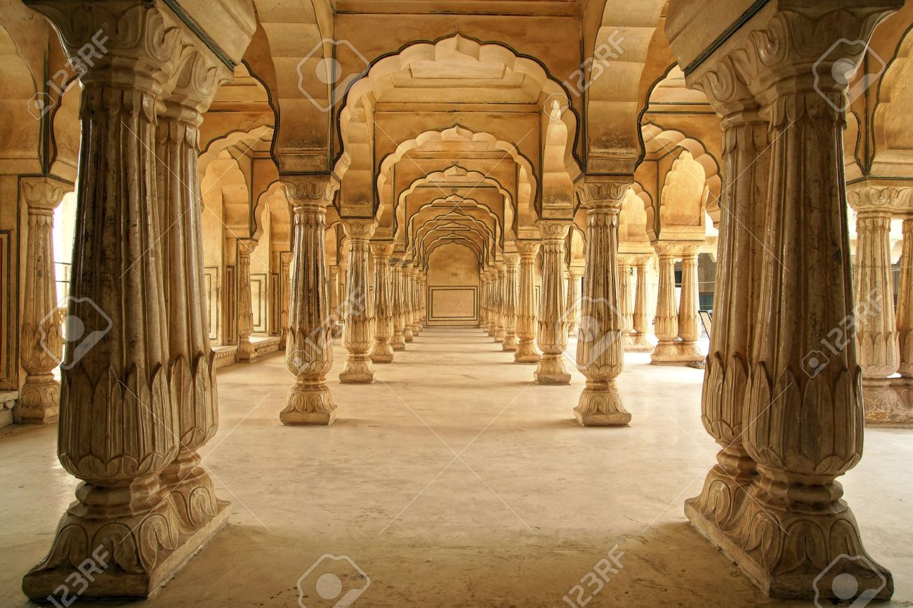Columned hall of Amber fort. Jaipur, India. Stock Photo - 16497040