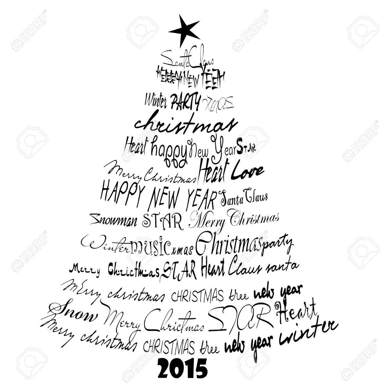 Christmas Card 2015. Abstract Font Christmas Tree. Stock Photo ...