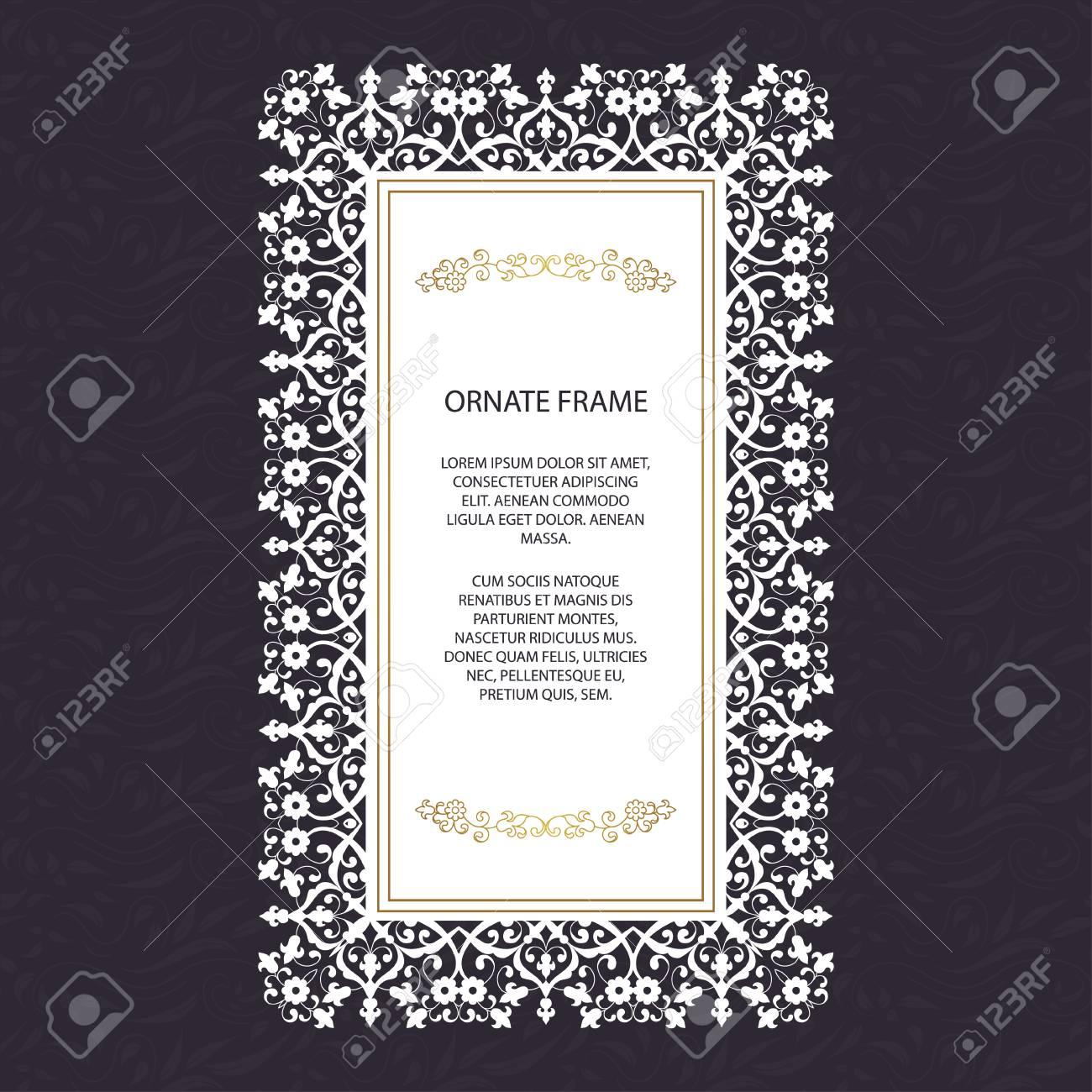 Brochure De Style Islamique Vintage élément élégant Pour Le Modèle De Conception Place Pour Le Texte Bordure Florale Décor Dentelle Pour
