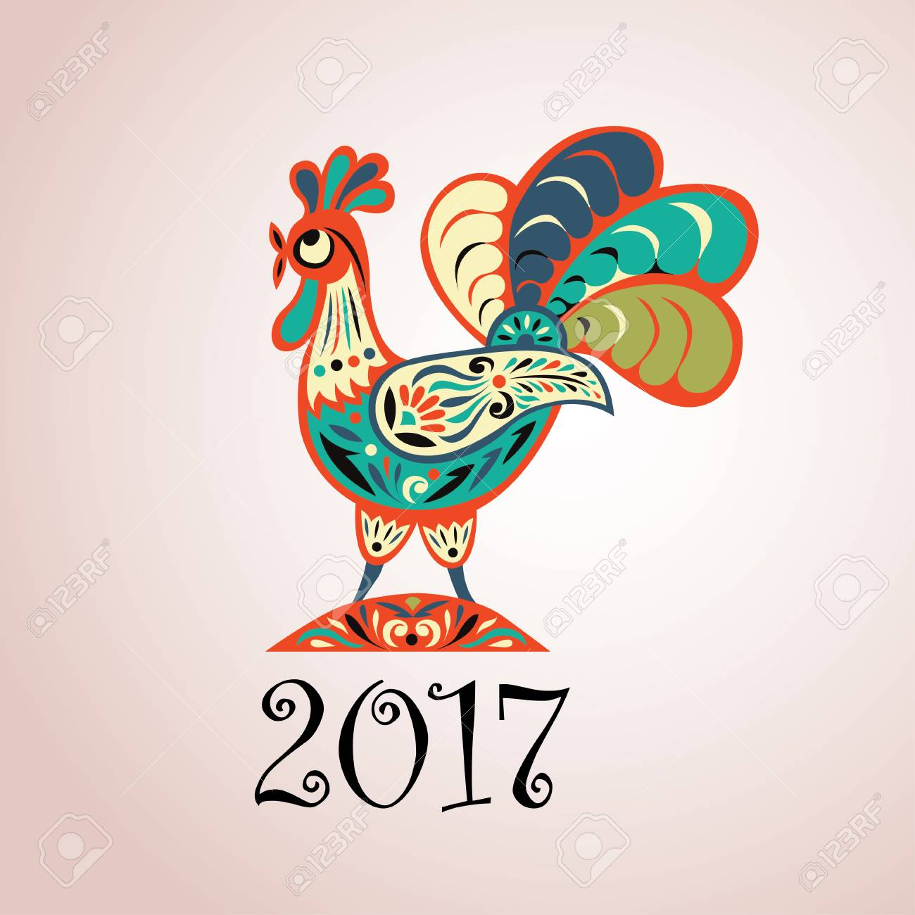 Vector Illustration For 2017 Year With Fairy Rooster Chinese