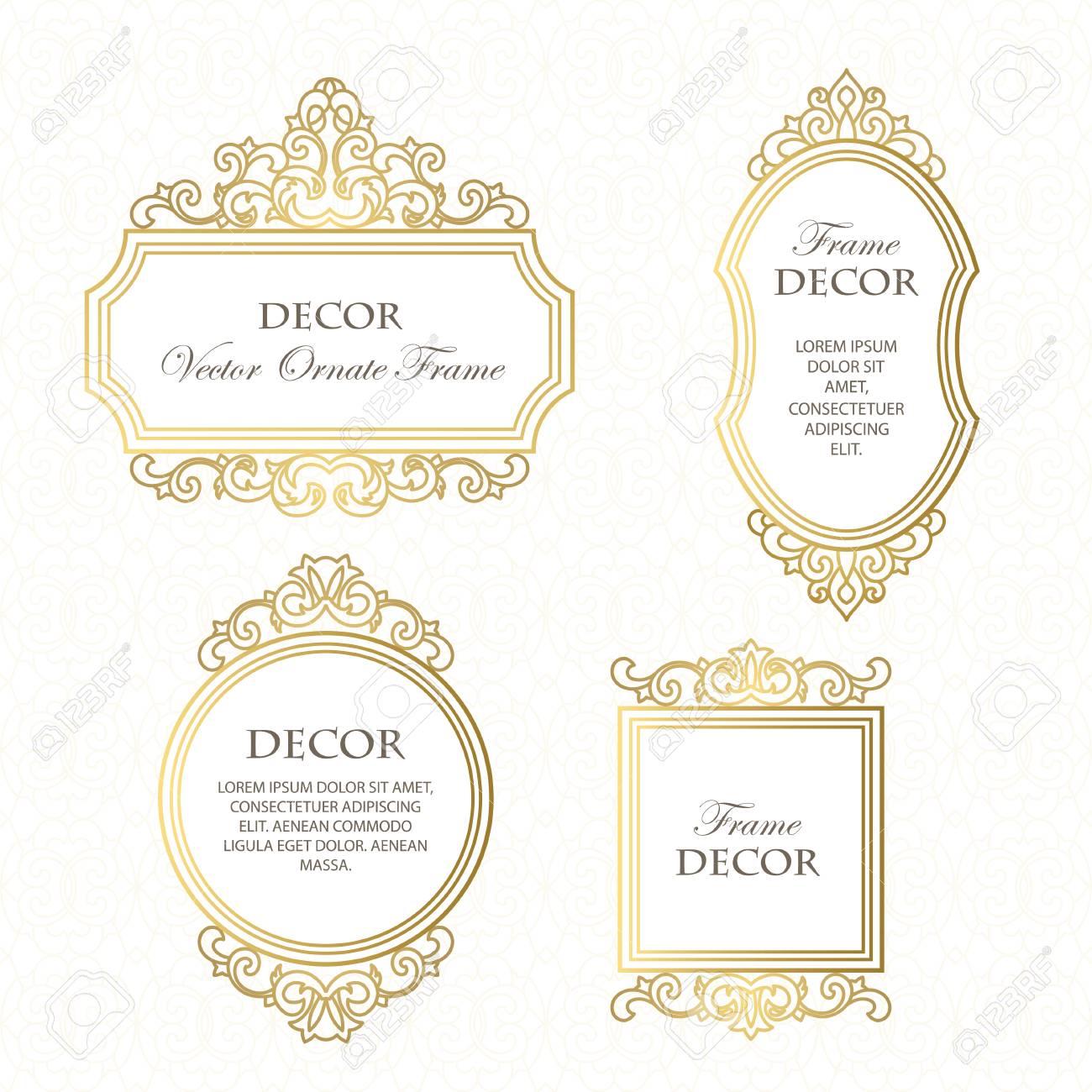 Vektor-Set Rahmen Für Design-Vorlage. Goldene Blumen Grenzen ...