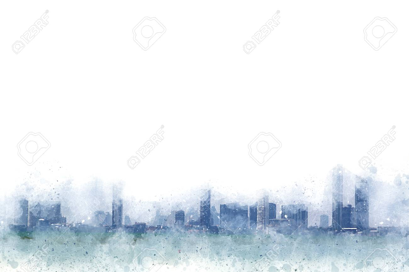 abstract building on watercolor painting background city on digital illustration brush to art stock
