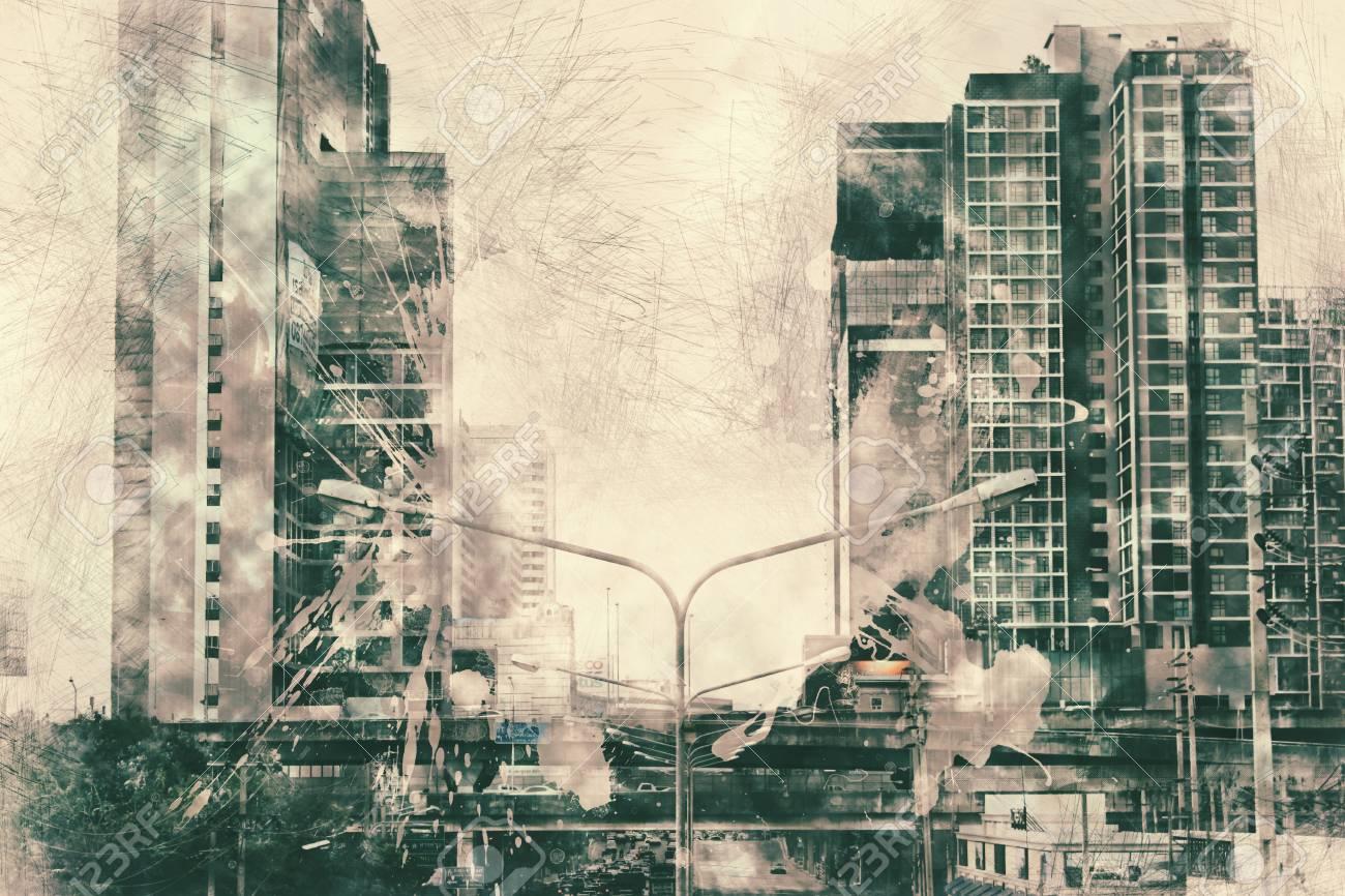 水彩画の絵画の背景に建物を抽象化します。デジタル イラスト ブラシ アート市。