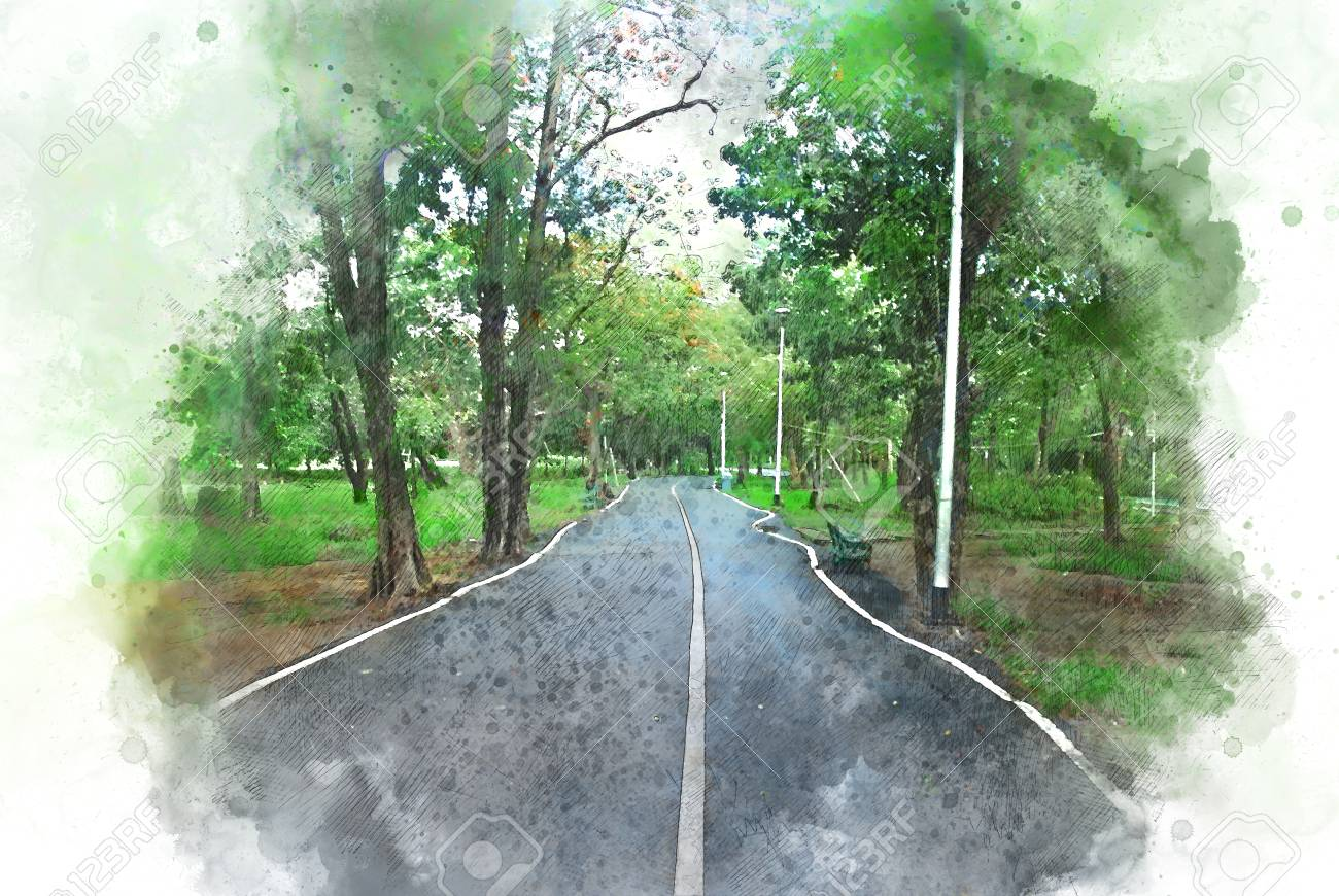 Abstract Colorful Tree And Road On Watercolor Painting Background Stock Photo Picture And Royalty Free Image Image 104357315