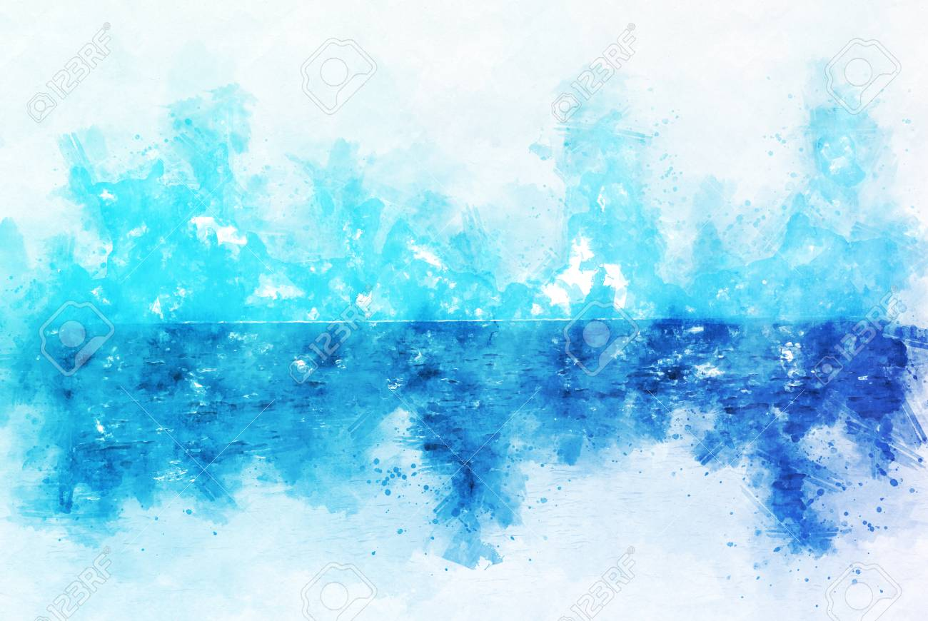 abstract ocean wave on watercolor painting background stock photo