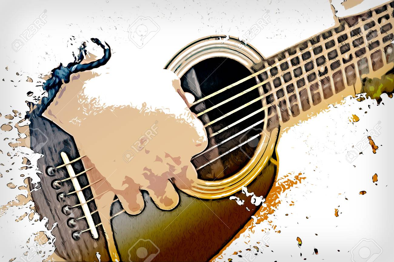 Abstract Beautiful Playing Acoustic Guitar In The Foreground Stock