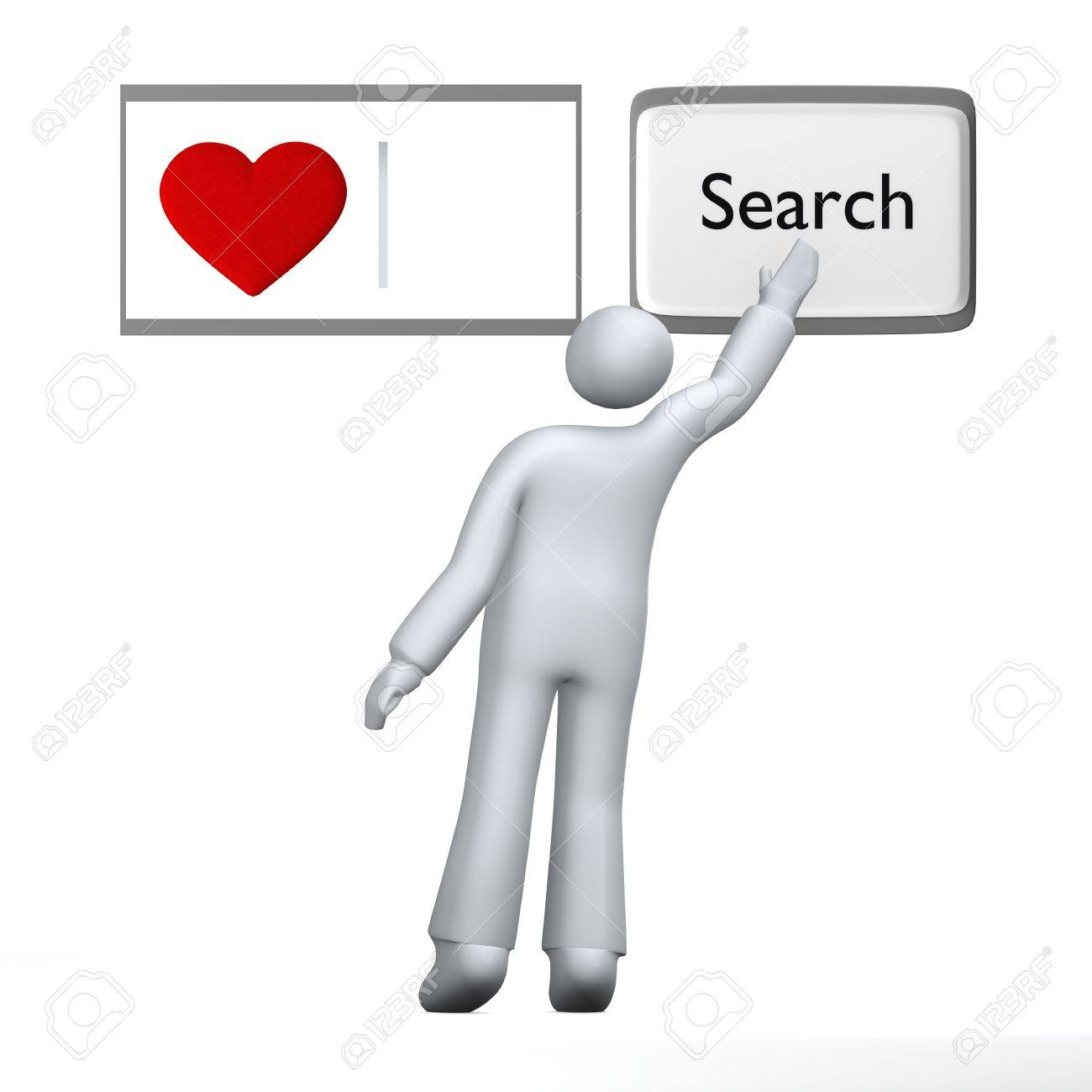 Looking for love, human searching for love with heart using abstract search engine Stock Photo - 4585225
