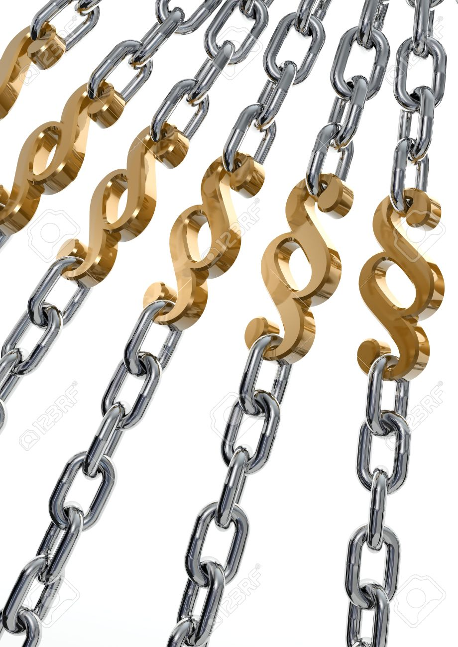 Metaphor of Strong Law / Power of Law showed by Paragraph sign and Chains. Paragraph - Polish/German law symbol. - 5711450