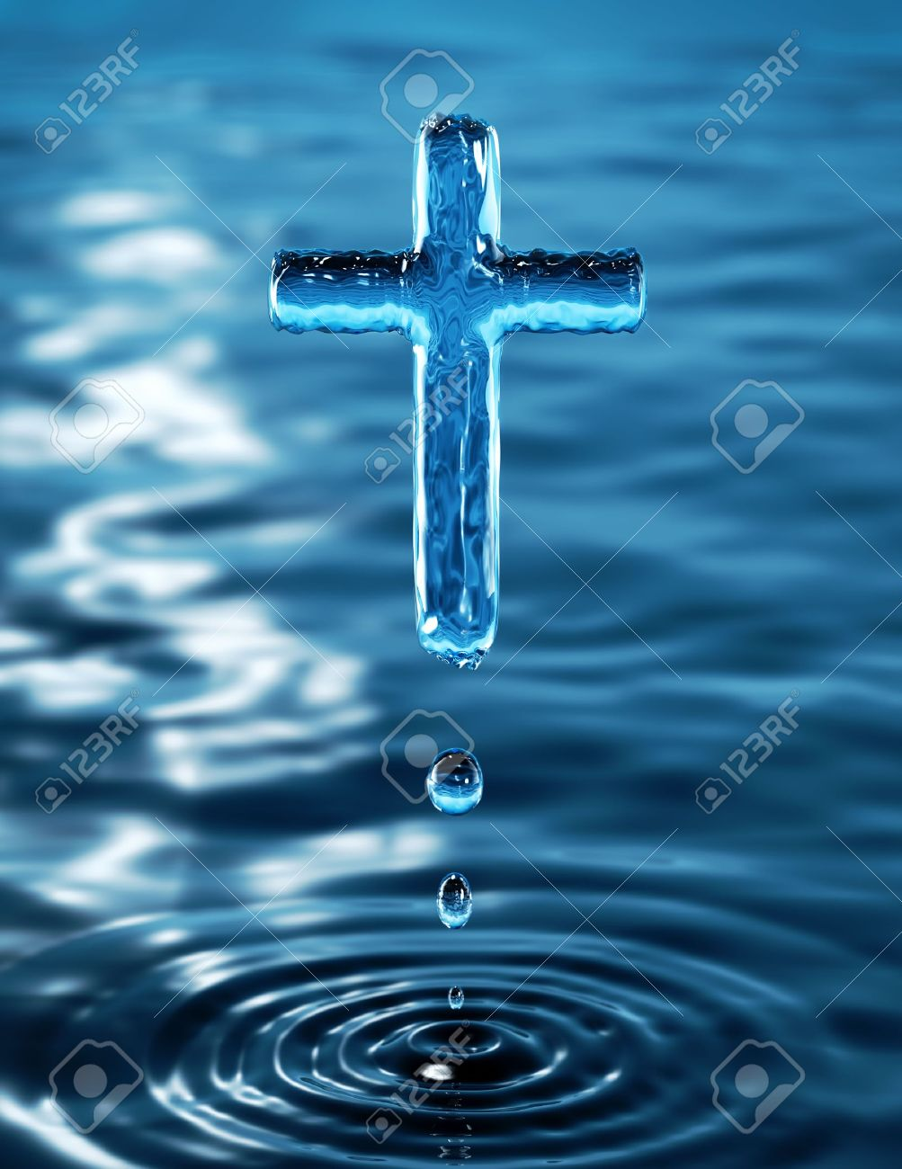 Holy Cross of water ripple - religious metaphor Stock Photo - 6459823