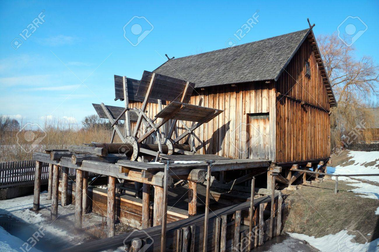 Old wooden watermill , Nowogrod Heritage Park, Poland - 7019600