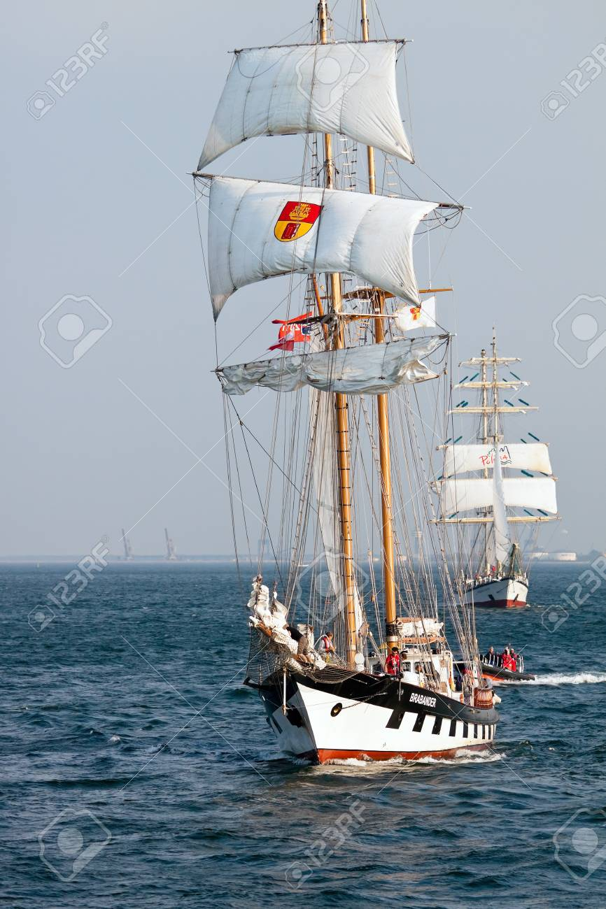 Sailing vessel Brabander on open sea during Culture 2011 Tall Ships Regatta,20 large vessels,dozen of smaller boats,1000 participants.September 05,2011 in Gdynia, Poland Stock Photo - 10581078