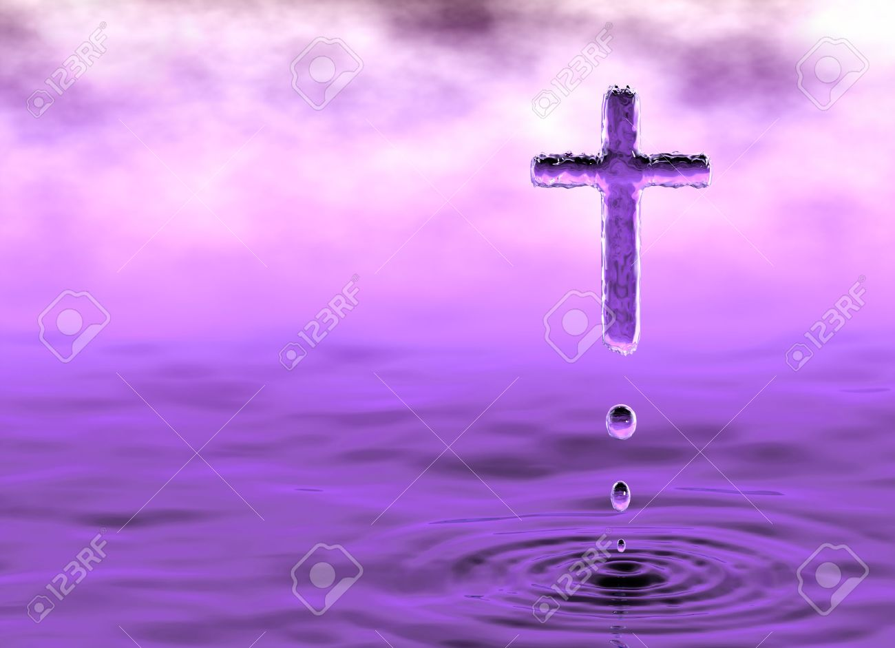 Silhouette of the holy cross on background of storm clouds stock - God Of Water Holy Cross Christian Symbol Of Holy Water In Violet Clouds