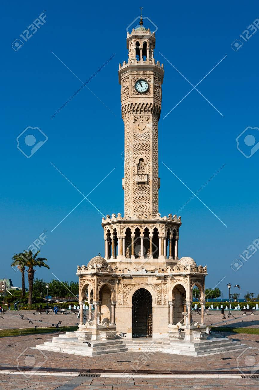 East Side Of The Clock Tower Symbol Of Izmir Stock Photo Picture