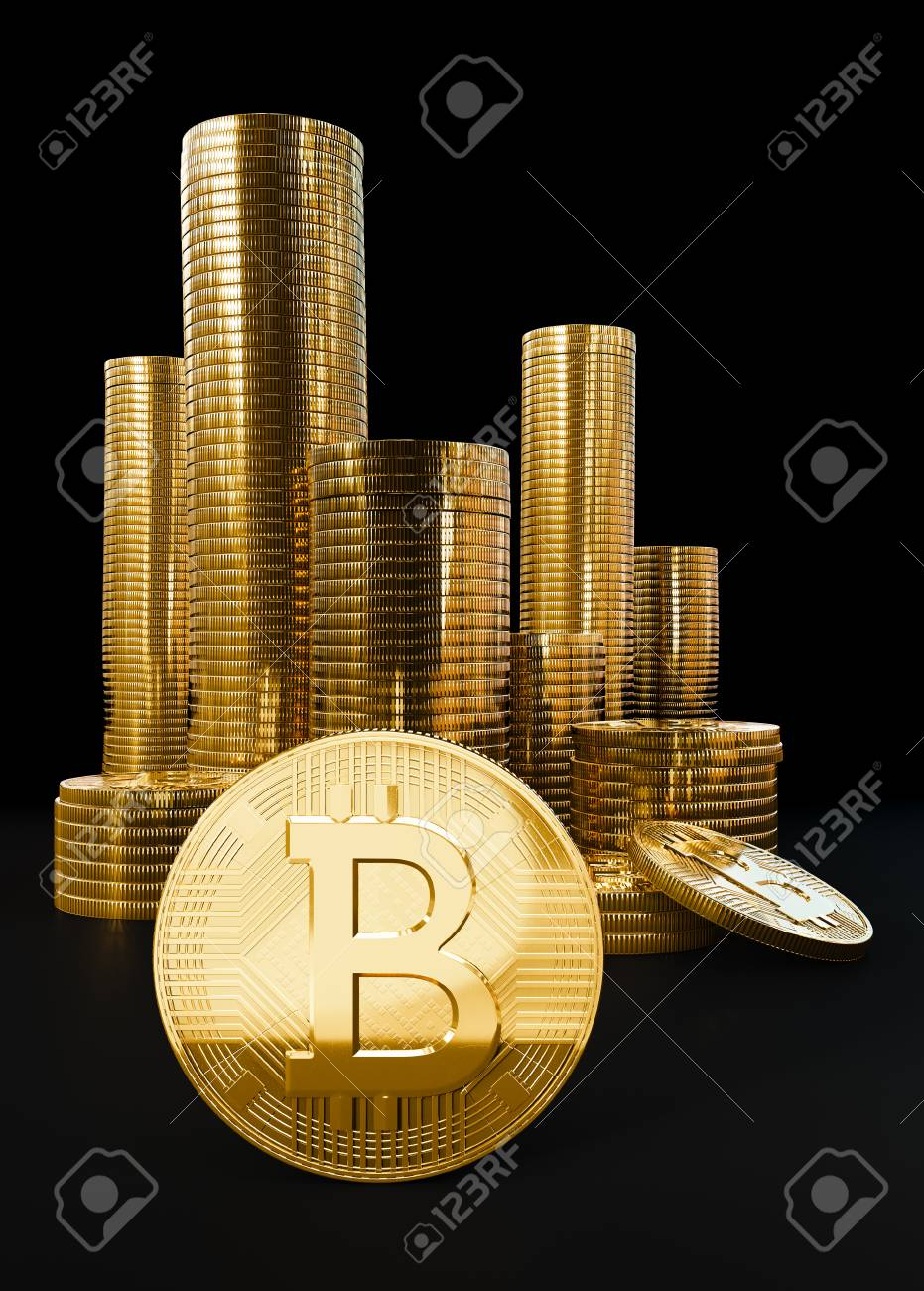 Bitcoin digital currency value, pile of gold coins