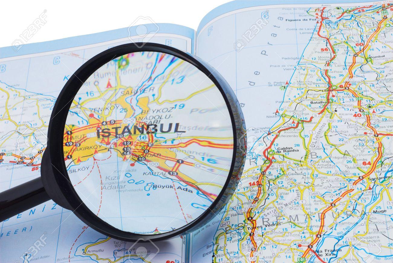 Carte De La Turquie Et La Loupe Axée Sur Istanbul