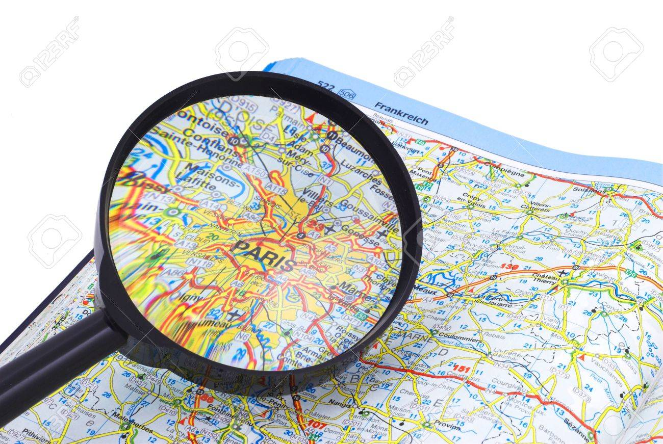 PARIS - FRANCE MAP under magnifying glass on open book Stock Photo - 5280768